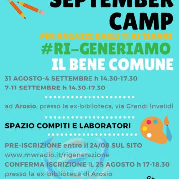 Iscriviti al September Camp #Ri-Generiamo il Bene Comune!